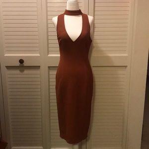 Leith Burnt Orange mid calf dress